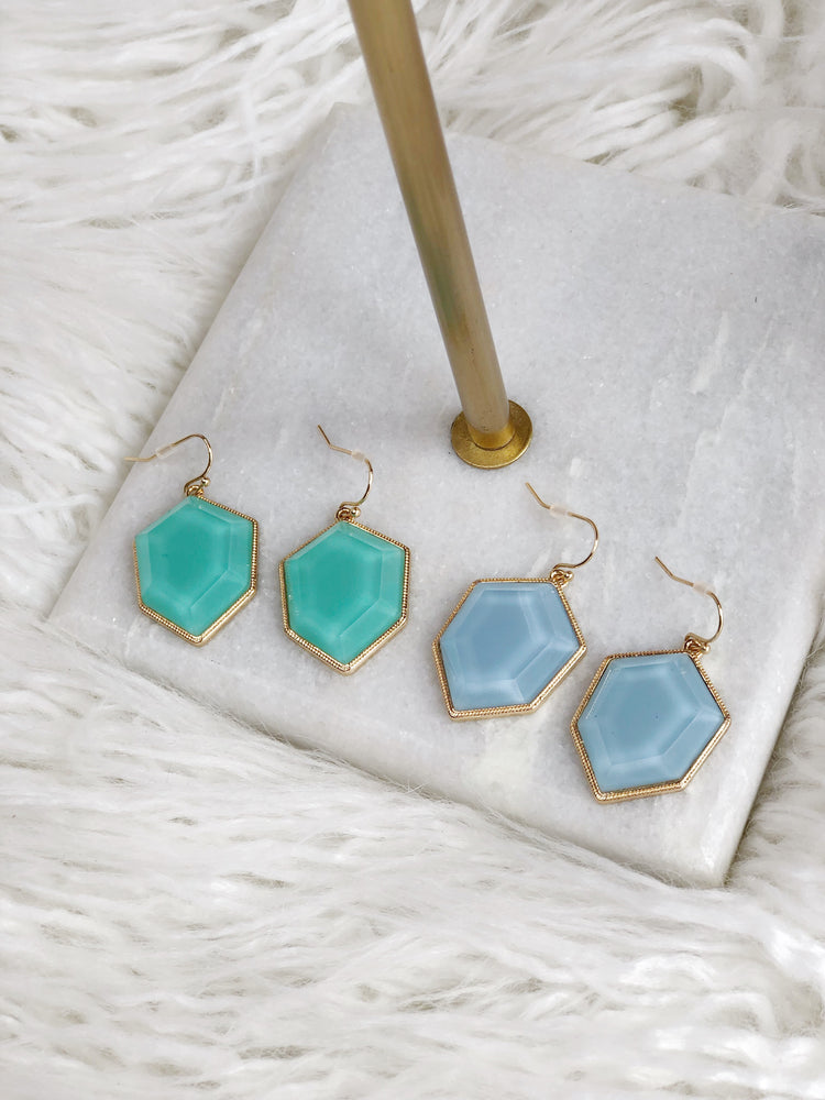 HEXAGON BEAD EARRING