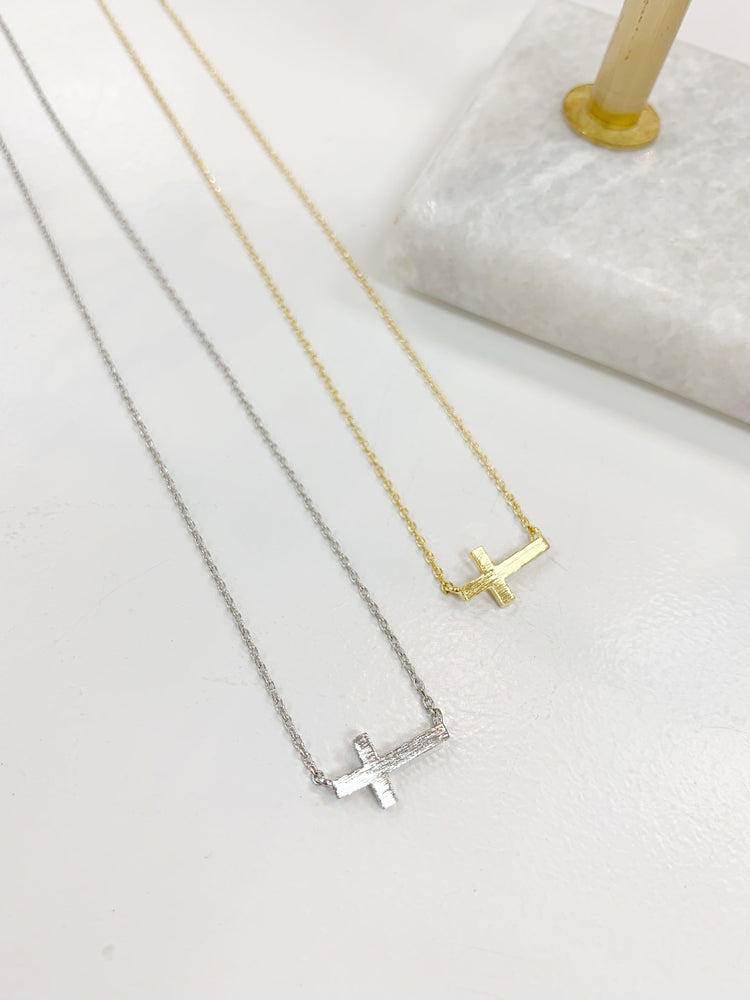 Mini Side Cross Charm Necklace