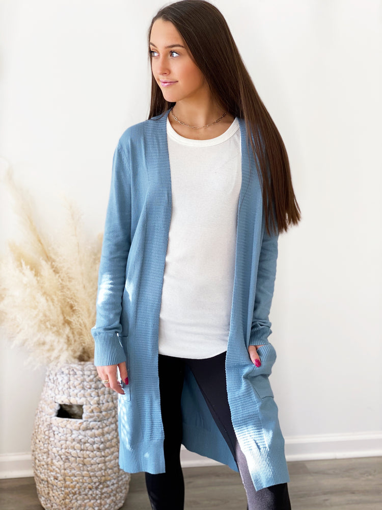 Live Well Cardigan- Blue Slate