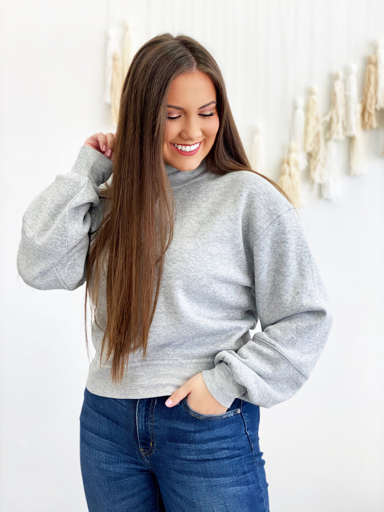 Skylar Mock Neck Pullover- Heather Grey