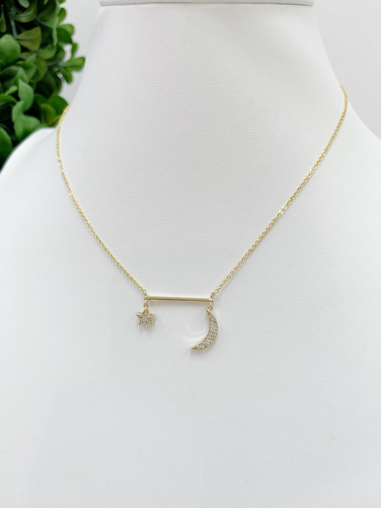 Moon Star & Bar Necklace- Gold