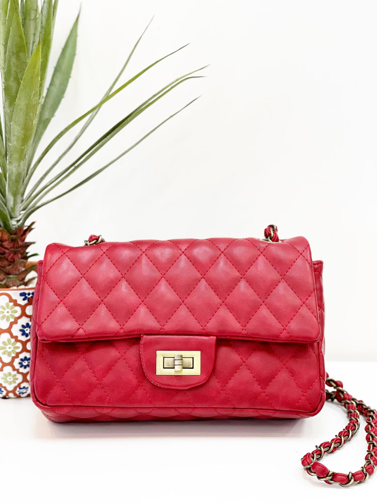 Quilted Handbag- Red