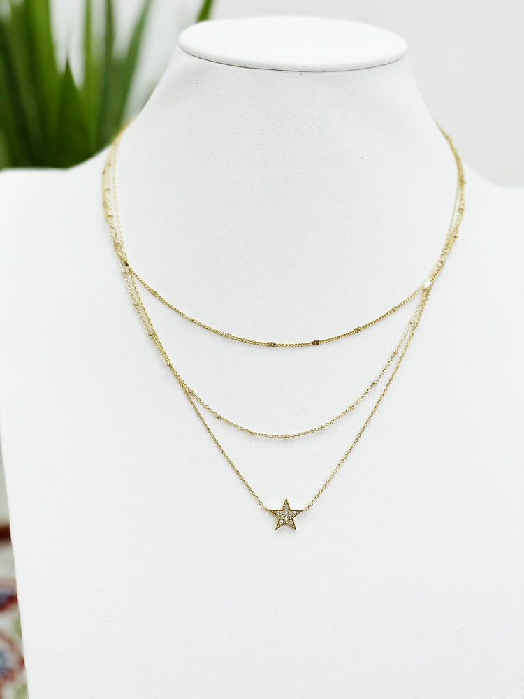 CZ Star Layer Necklace