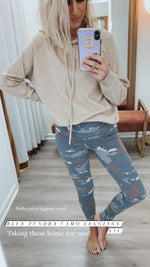 Blue Tundra Camo High Waist Leggings
