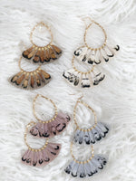 TEARDROP FEATHER FAN EARRINGS