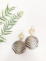 ZEBRA PRINT WOOD DISC EARRING