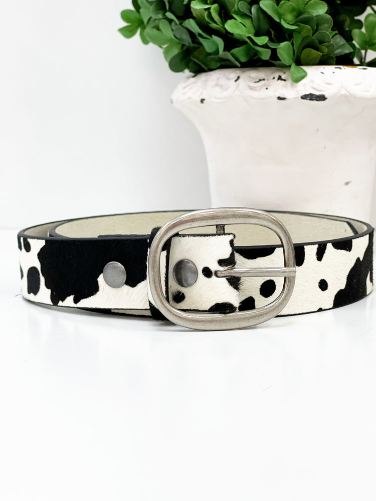 Cow Print Belt- Black And White
