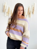 Mary Beth Sweater- Cream/Lavender