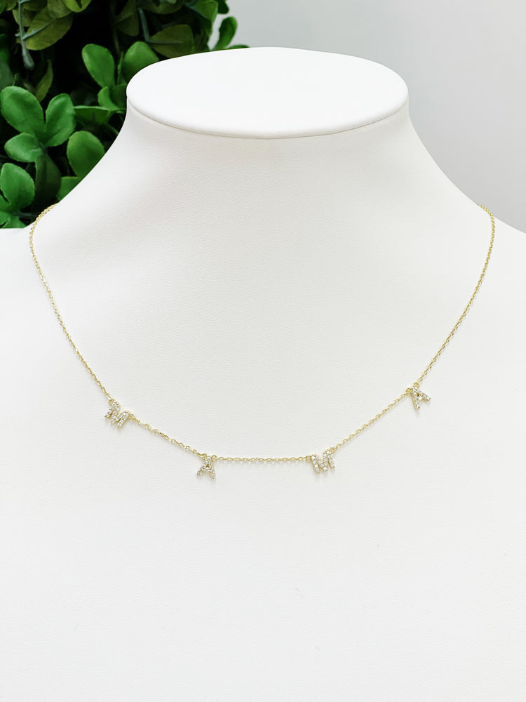 Rhinestone Mama Necklace