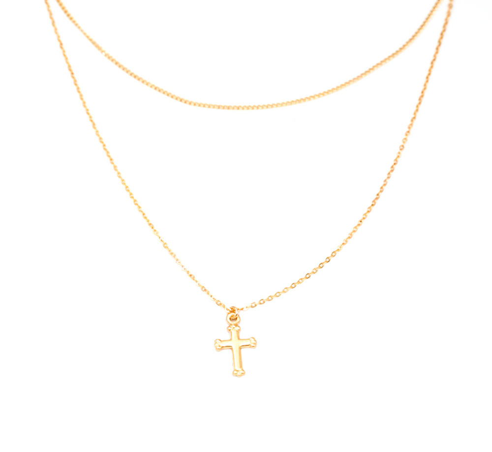DOUBLE CHAIN CROSS NECKLACE