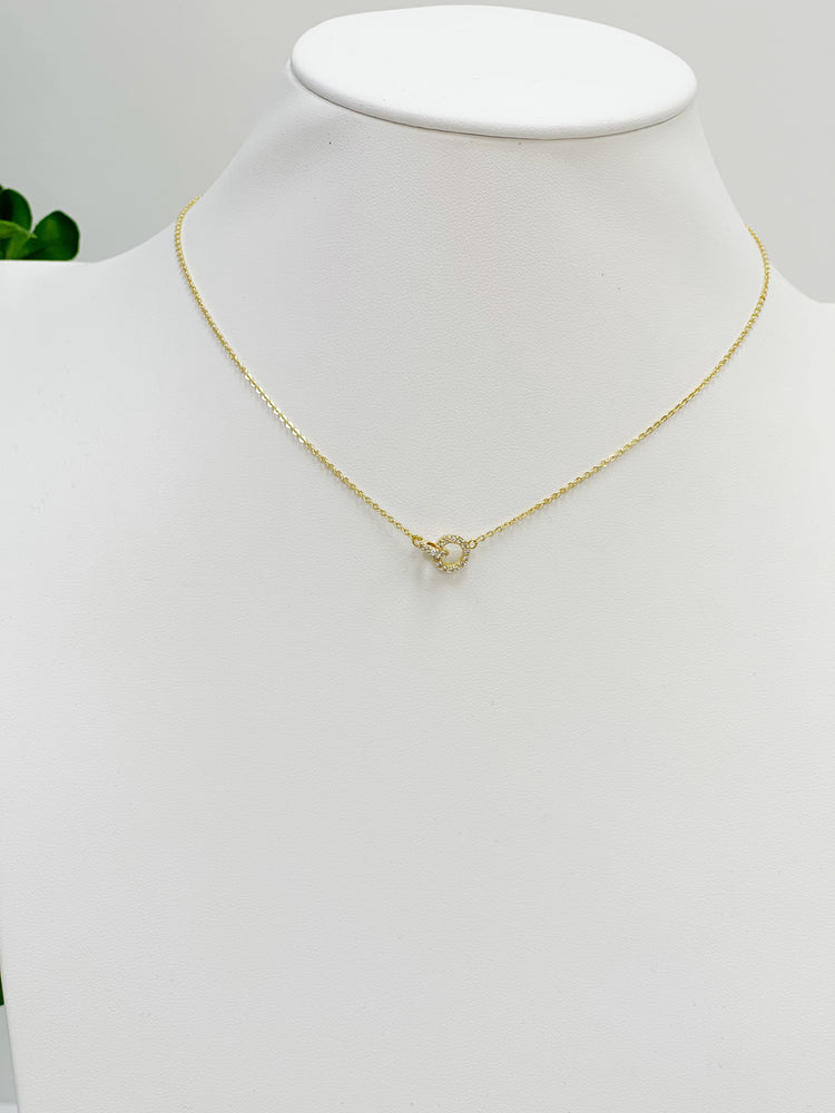Link Lock Charm Necklace- Gold