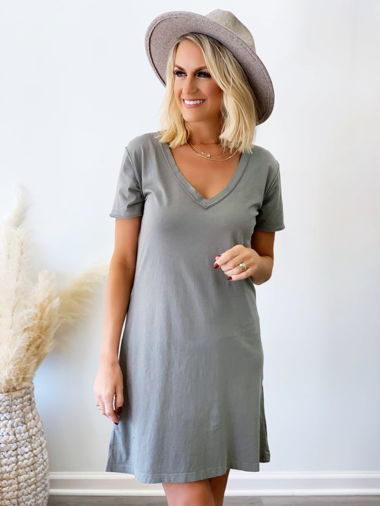 Organic Cotton T-Shirt Dress- Dusty Sage
