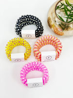 Polka Dot Spiral Hair Tie- 3 Pack
