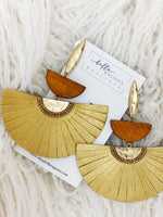 LEATHER FAN EARRINGS