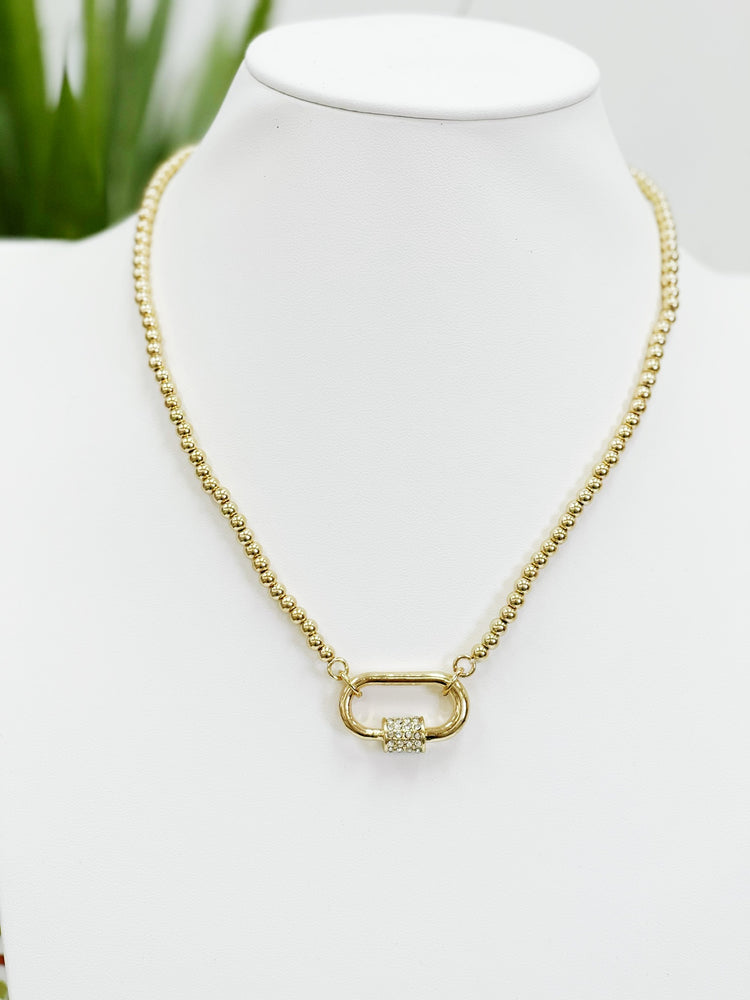 Crystal Oval Lock Necklace