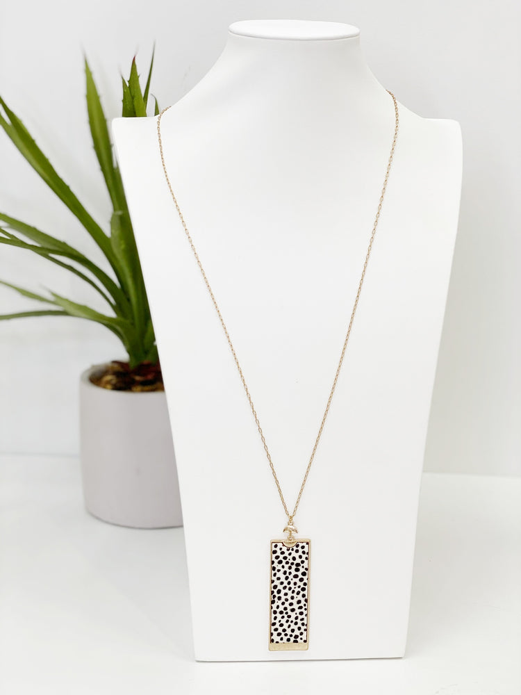 Cheetah Cowhide Bar Necklace