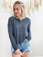 Aimee Henley Rib Top- Pewter