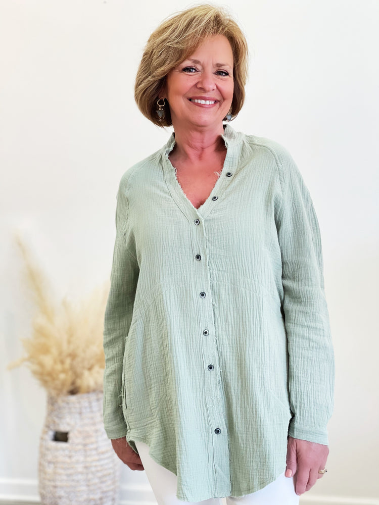 Hannah Button Down - Sage