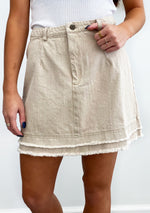 Echo Denim Skirt- Cream
