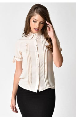 CHANEY CHIFFON BUTTON UP