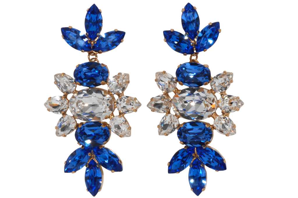 Blue Crystal Earrings RRP $325 <BR> now 60% off <BR> SALE PRICE $130