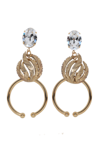 Gold & crystal earrings RRP $235 <BR> now 60% off <BR> SALE PRICE $94