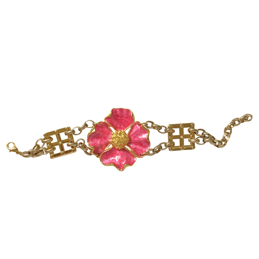 Pink flower bracelet RRP $205 <BR> now 60% off <BR> SALE PRICE $82