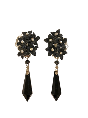 Black flower and crystal drop earrings <br> RRP $230 <br> now 60% off <br> SALE PRICE $92