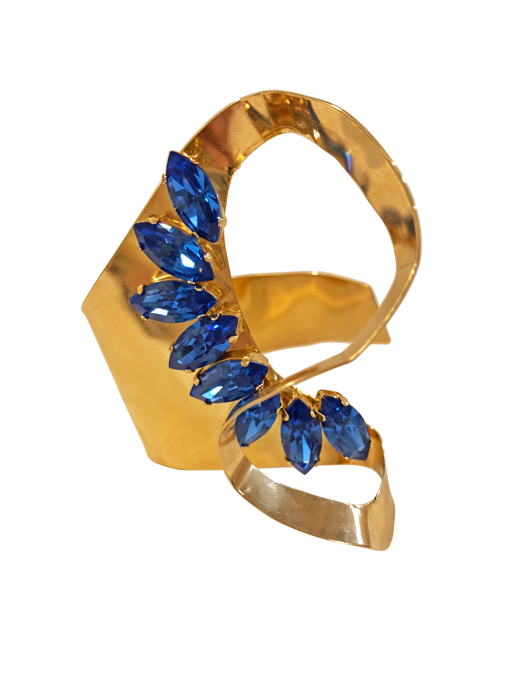 Blue sculptural cuff <br> RRP $160 <br> now 60% off <br> SALE PRICE $64