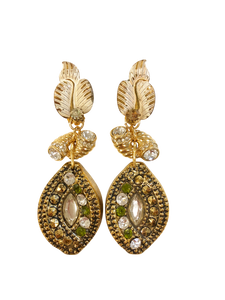 Gold and olive drop vintage earrings <br> RRP $235 <br> now 60% off <br> SALE PRICE $94