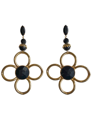 Black & gold flower drops RRP $255 <br> now 60% off <br> SALE PRICE $102