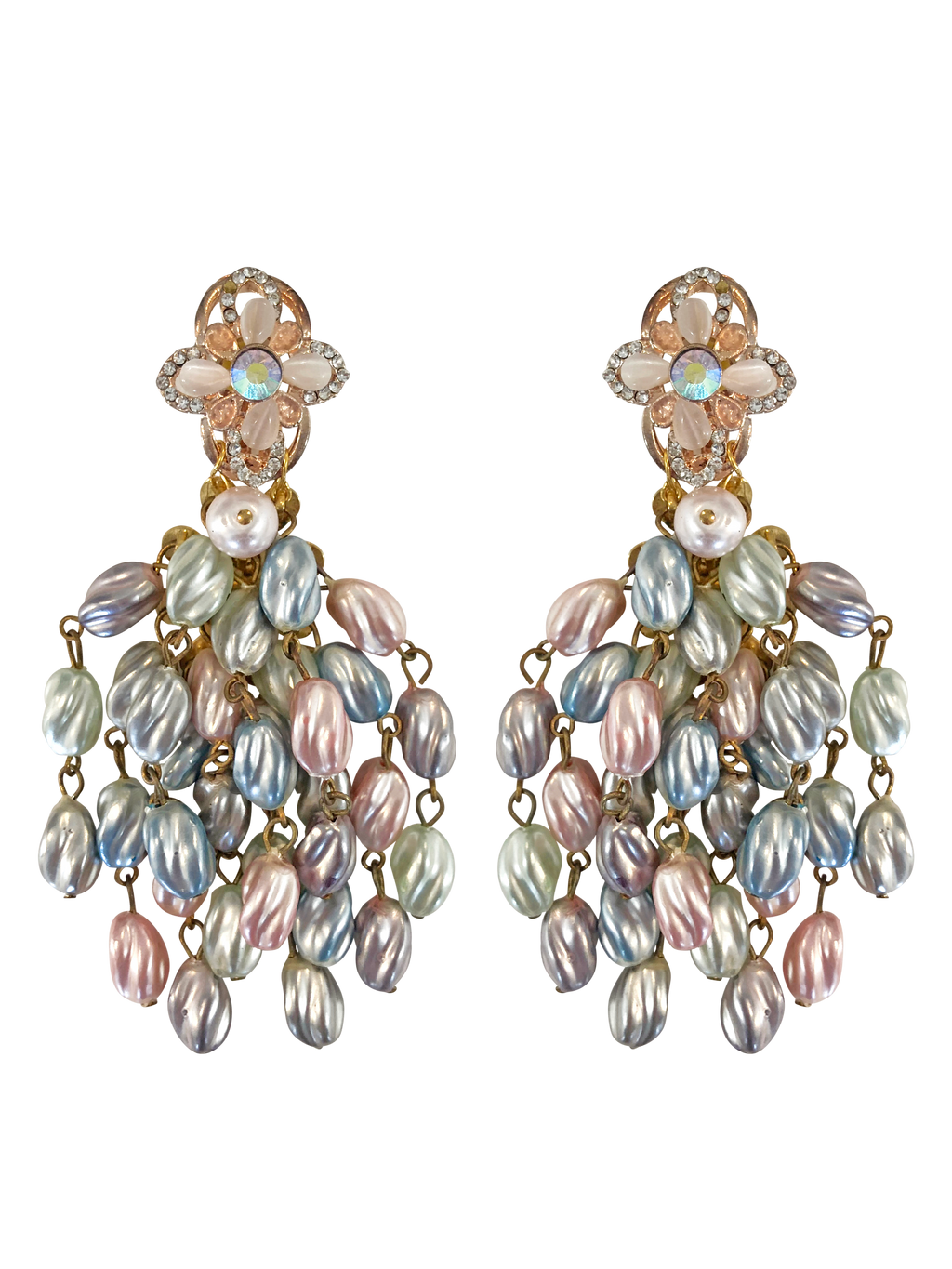 Pastel chandelier earrings RRP $240 <BR> now 60% off <BR> SALE PRICE $96