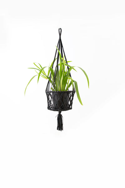 LEATHER MACRAME STYLE HANGING BASKET - Large Black