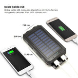 Power Bank solar de 10,000 mAh con linterna y doble salida USB