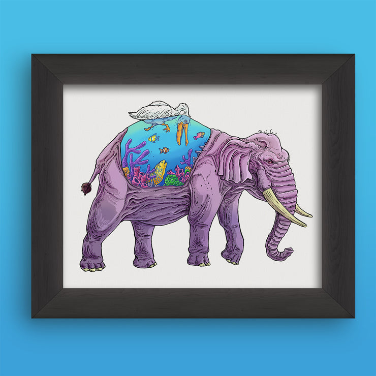 Elephant Aquarium Signed Print