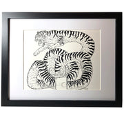 Framed Pen Drawing Tiger Soup