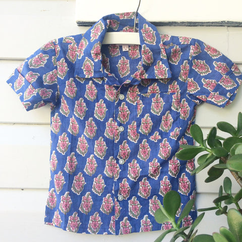 Hamish block print shirt Flamenco