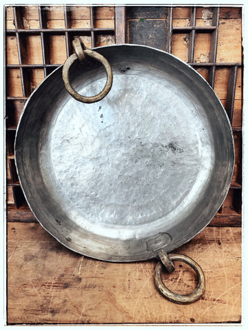 Antique hand-beaten brass-silver pan