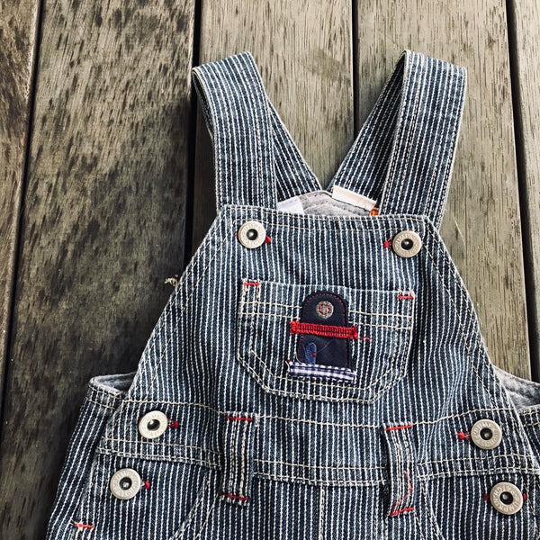 Striped denim overalls 0-3m