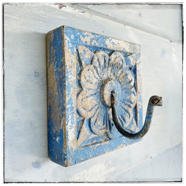Antique wall hook Blue