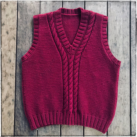 Hand knitted cable vest