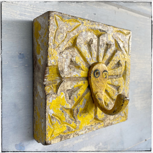 Antique wall hook Yellow