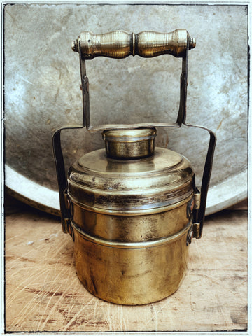 Vintage 2 tier brass tiffin