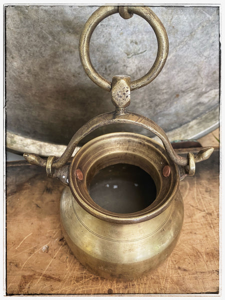 Antique hanging brass lota