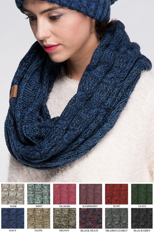 C.C. Infinity Cable Knit scarf