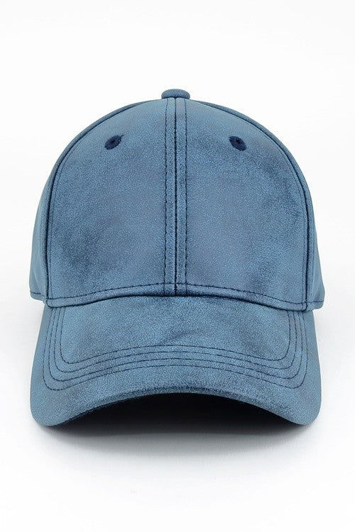 Faux Leather Baseball Cap - Denim Blue