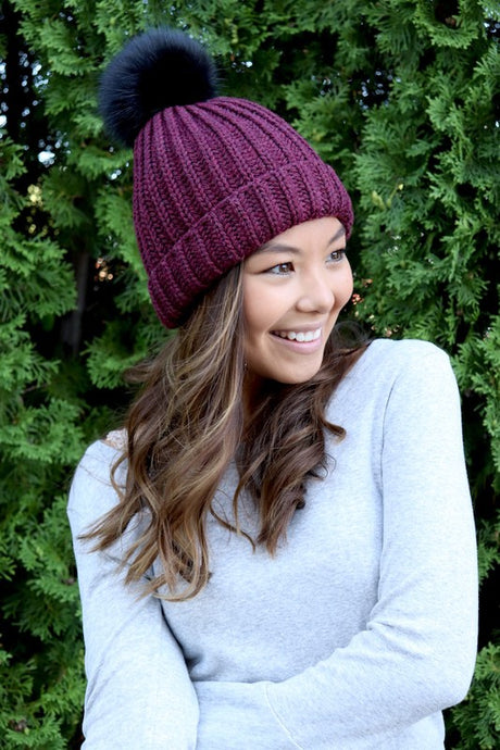 Wine Cable Knit Hat With Pom Accent