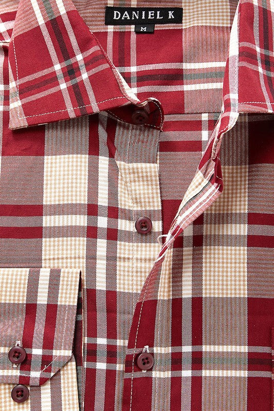 Burgundy Plaid Long Sleeve Shirt