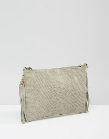 New Look Whipstitch Fringe Mini Duffle Bag