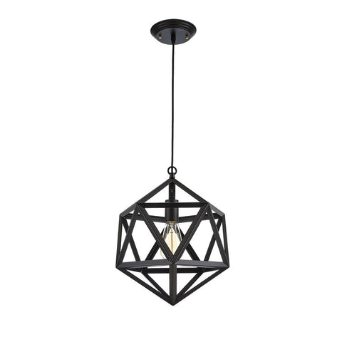 Geometric Pendant Light Industrial Vintage style Polyhedron Large Fixture Black Shade(ED273P)